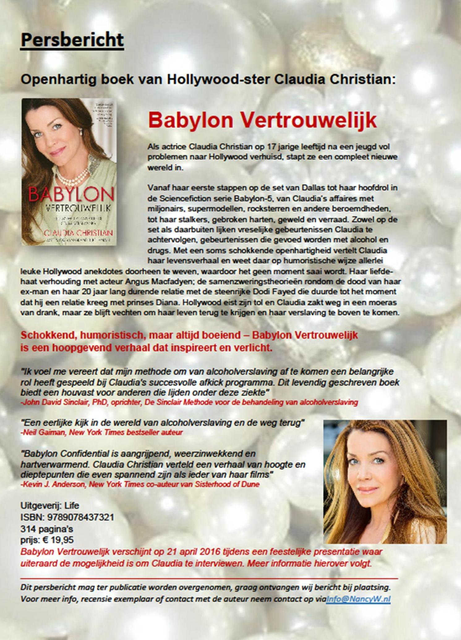Persbericht Babylon Vertrouwelijk - Claudia Christian