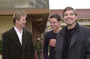 Brad Pitt, Matt Damon & George Clooney photo by Airman 1st Class Tanaya M. Harms.