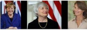 Van l.n.r. Merkel, Yellen en Gates - © Forbes