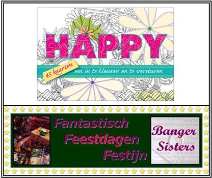 16. Fantastisch Feestdagen Festijn- Win Happy, 45 kaarten om in te kleuren en te versturen!