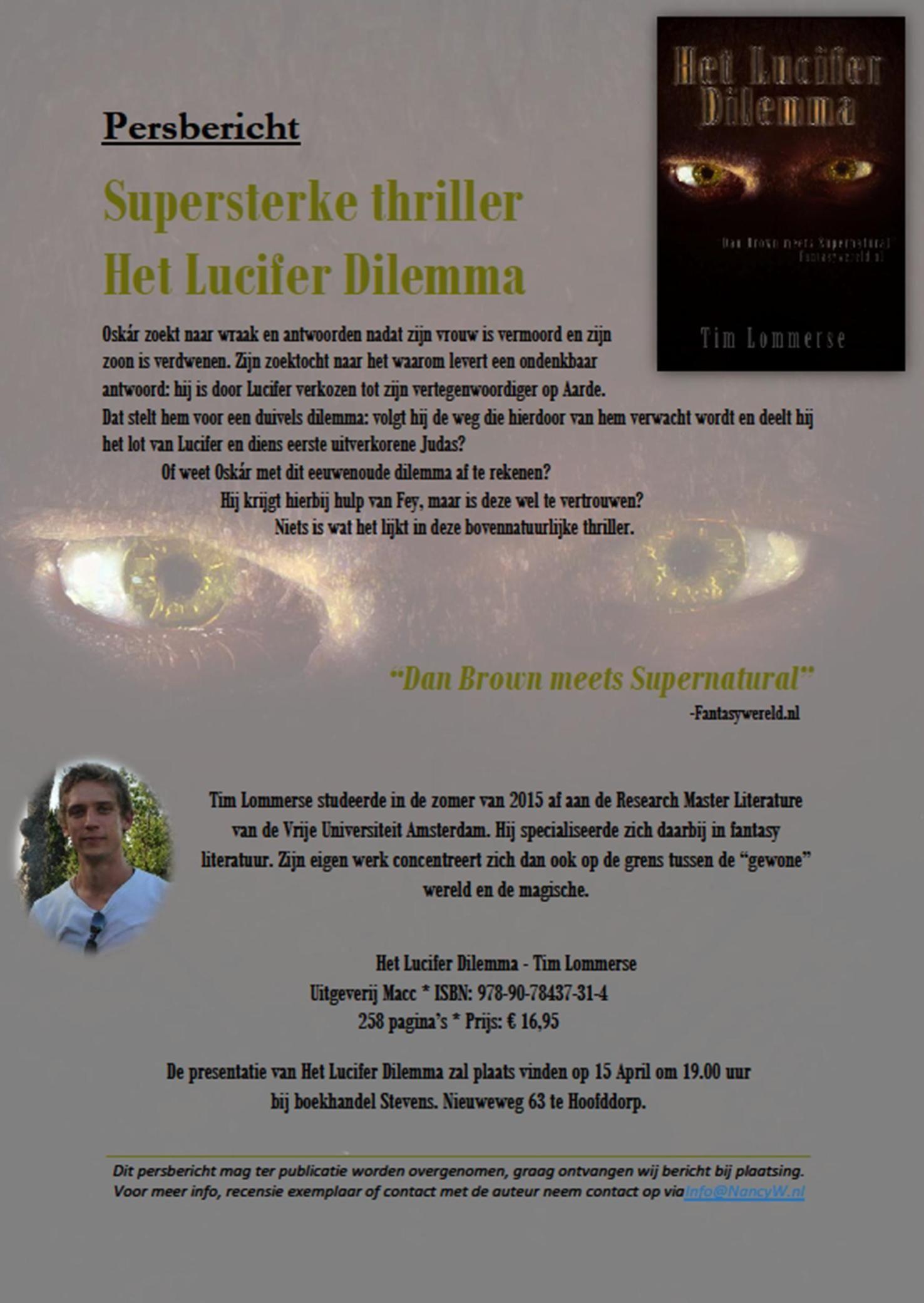Persbericht Het Lucifer Dilemma - Tim Lommerse